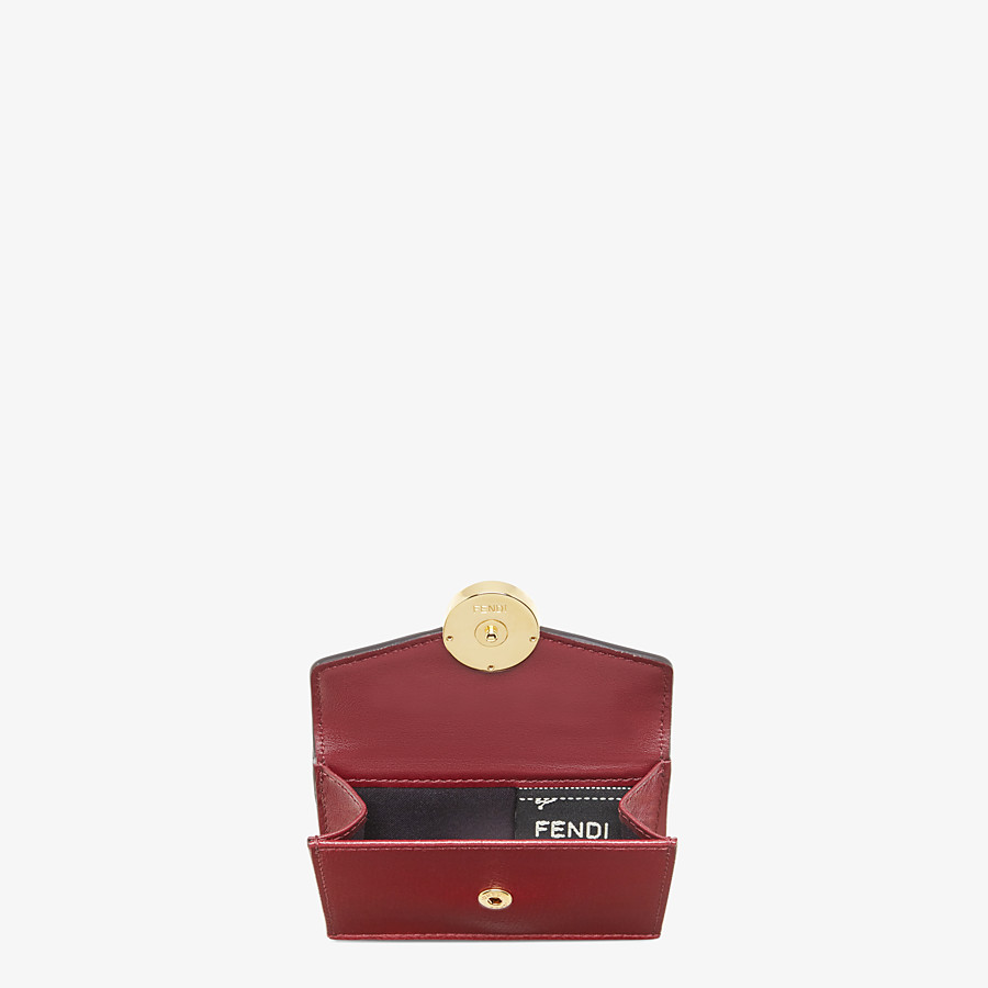 FENDI MICRO TRIFOLD - Burgundy leather wallet - view 3 detail