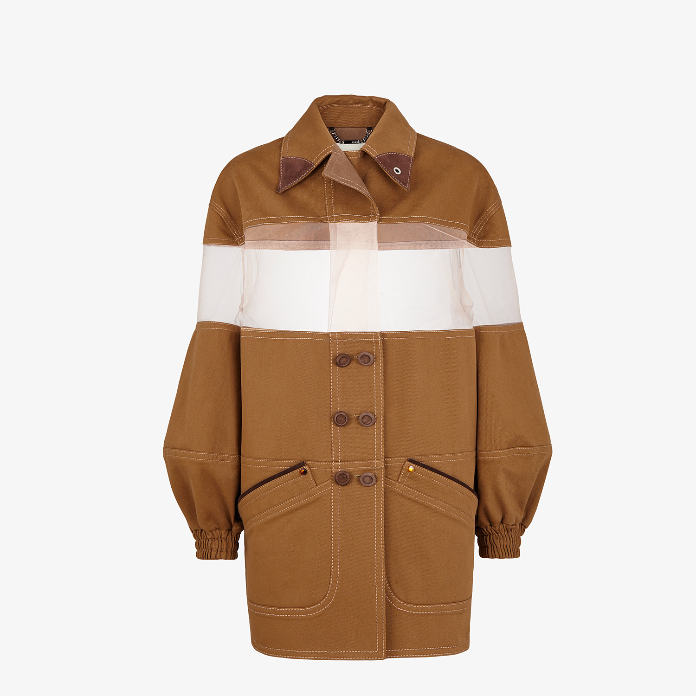 FENDI JACKET - Brown gabardine jacket - view 1 detail