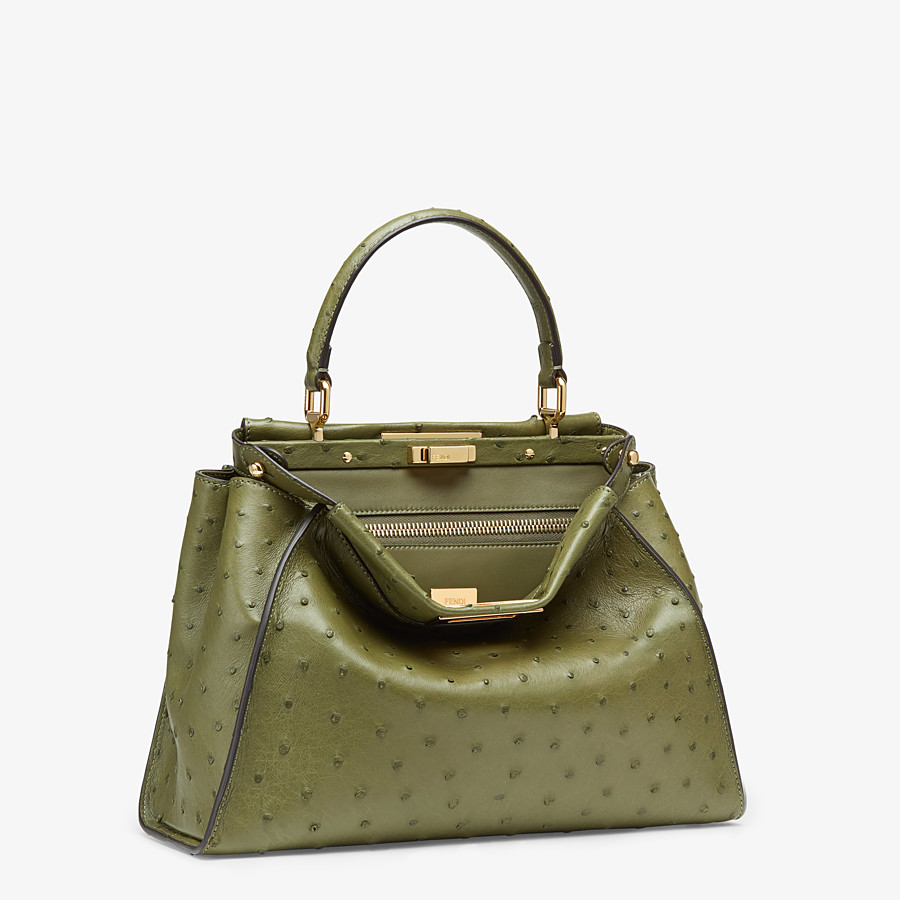 FENDI PEEKABOO ICONIC MEDIUM - Green ostrich leather bag - view 2 detail