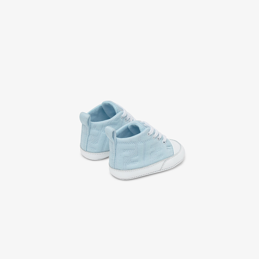 FENDI SNEAKERS - Light blue cotton baby sneakers - view 2 detail