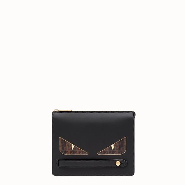 FENDI CLUTCH - Black leather slim pouch - view 1 small thumbnail