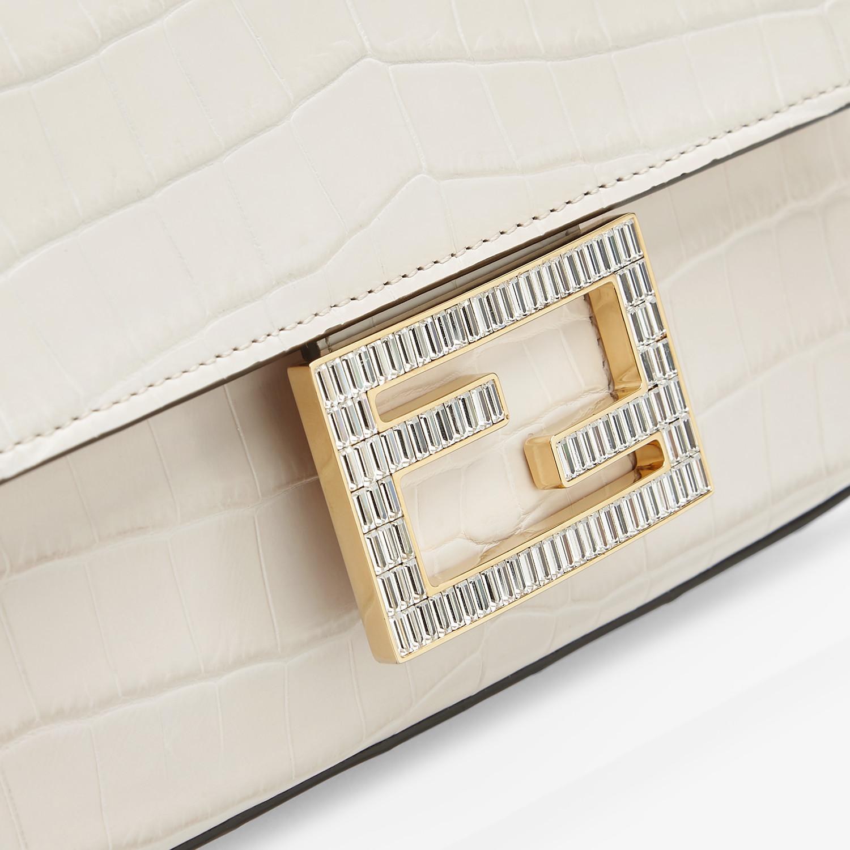 FENDI BAGUETTE - White crocodile leather bag - view 5 detail