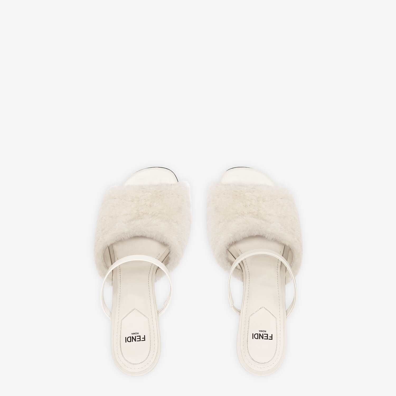 FENDI FENDI FIRST - White sheepskin high-heeled sandals - view 4 detail