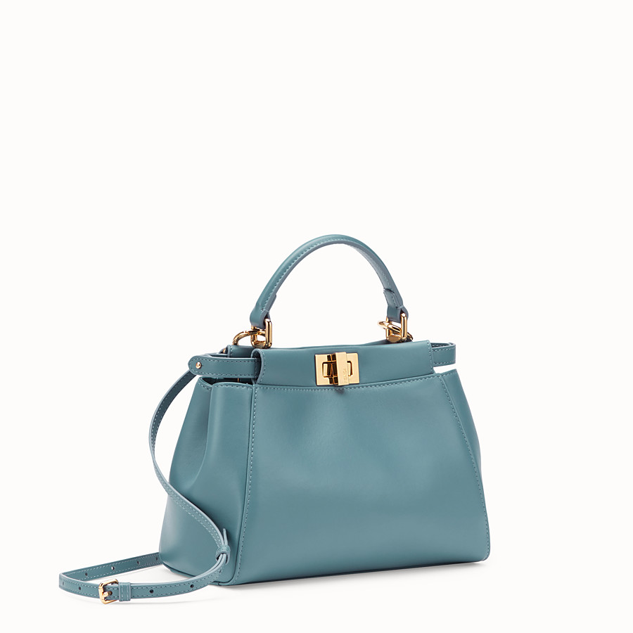 FENDI PEEKABOO ICONIC MINI - Light blue leather bag - view 2 detail