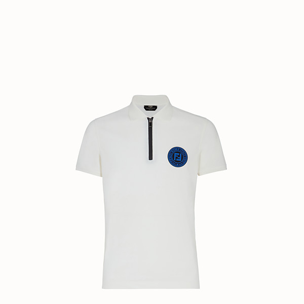 FENDI POLO SHIRT - White cotton polo shirt - view 1 small thumbnail
