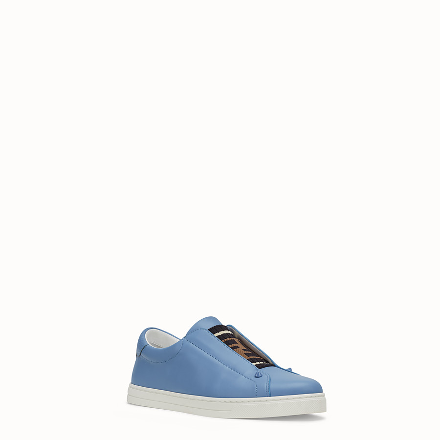 FENDI SNEAKERS - Pale blue leather slip-ons - view 2 detail