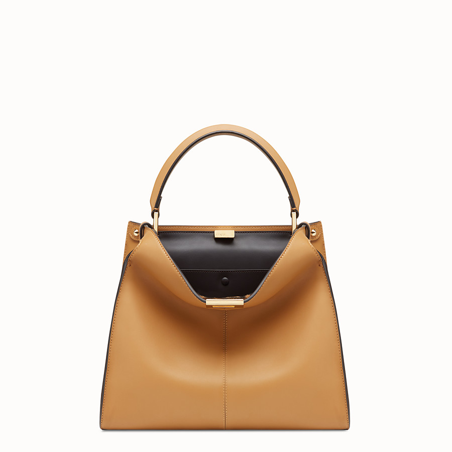 FENDI PEEKABOO X-LITE MEDIUM - Beige leather bag - view 3 detail