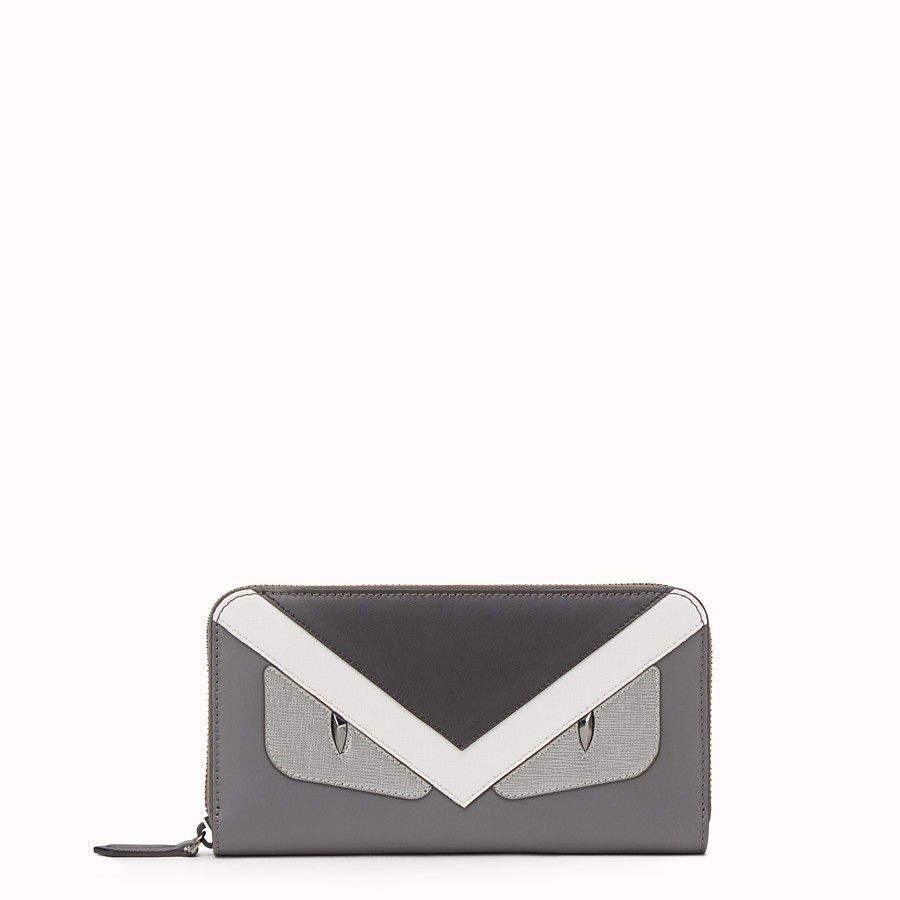 31d9e2b382 Zip-around wallet in grey leather with insert - ZIP AROUND | Fendi