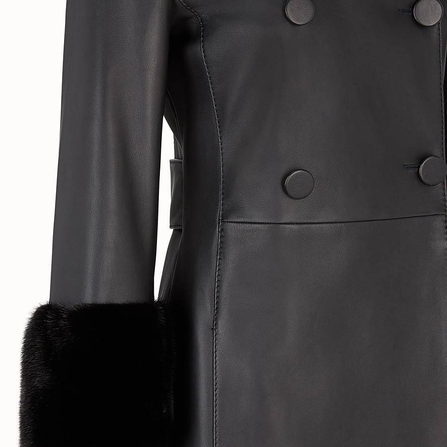 FENDI OVERCOAT - Black leather coat - view 3 detail