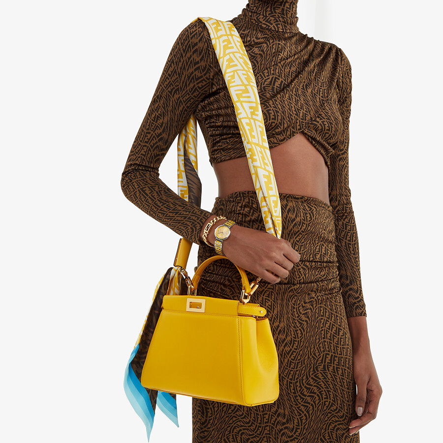 FENDI PEEKABOO ICONIC MINI - Yellow nappa leather bag - view 2 detail