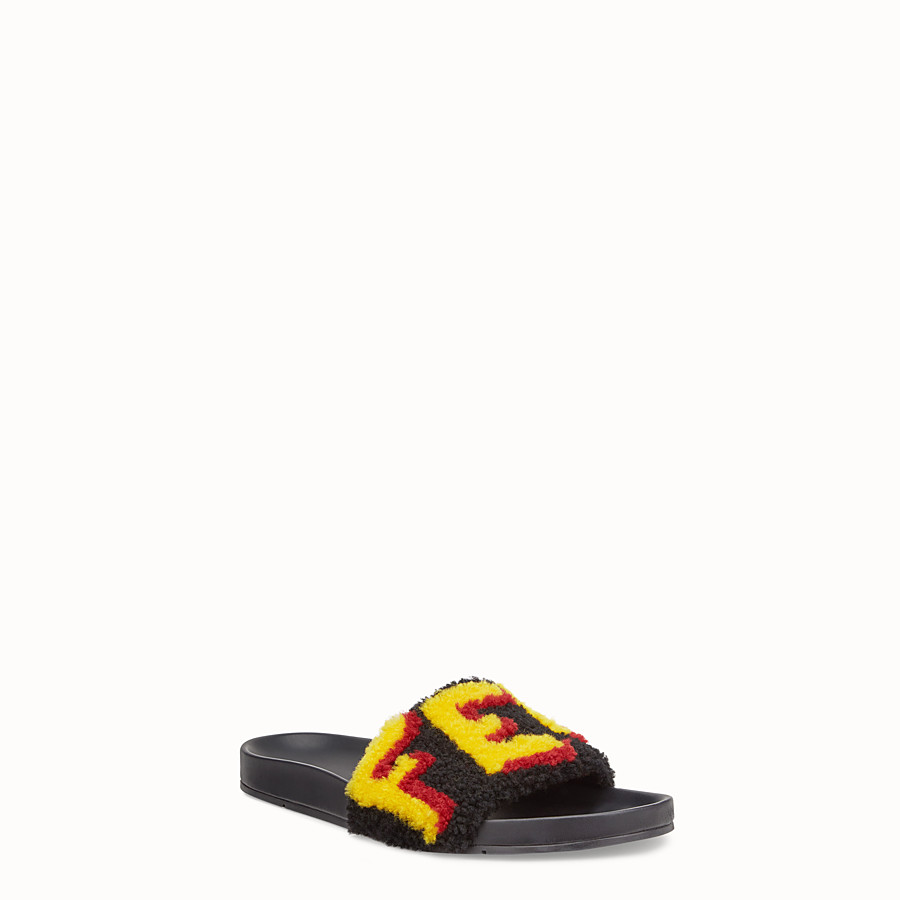 FENDI FLAT SANDALS - Slides in leather and yellow sheepskin - view 2 detail