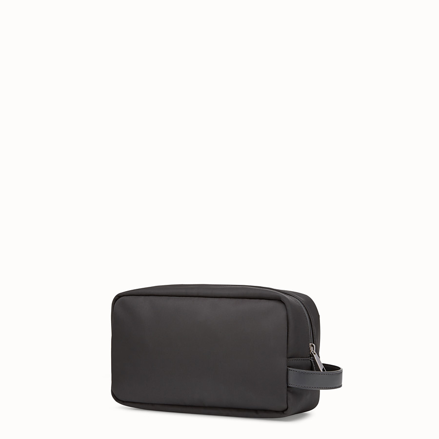 FENDI TOILETRY CASE - Black nylon and leather case - view 2 detail