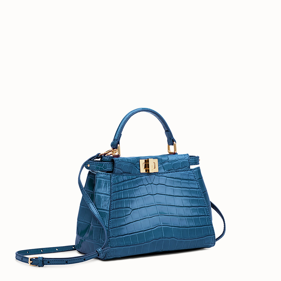 FENDI PEEKABOO MINI - Blue crocodile leather handbag. - view 2 detail
