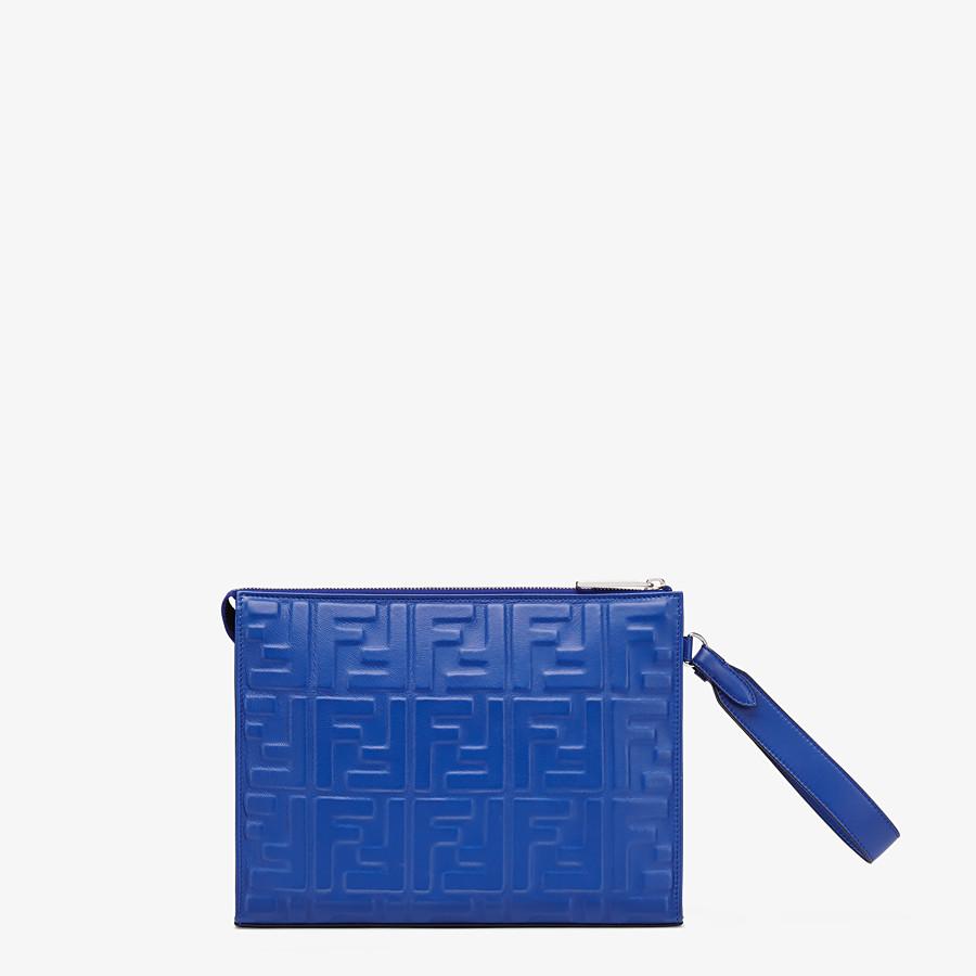FENDI FLAT POUCH - Blue nappa leather pouch - view 3 detail