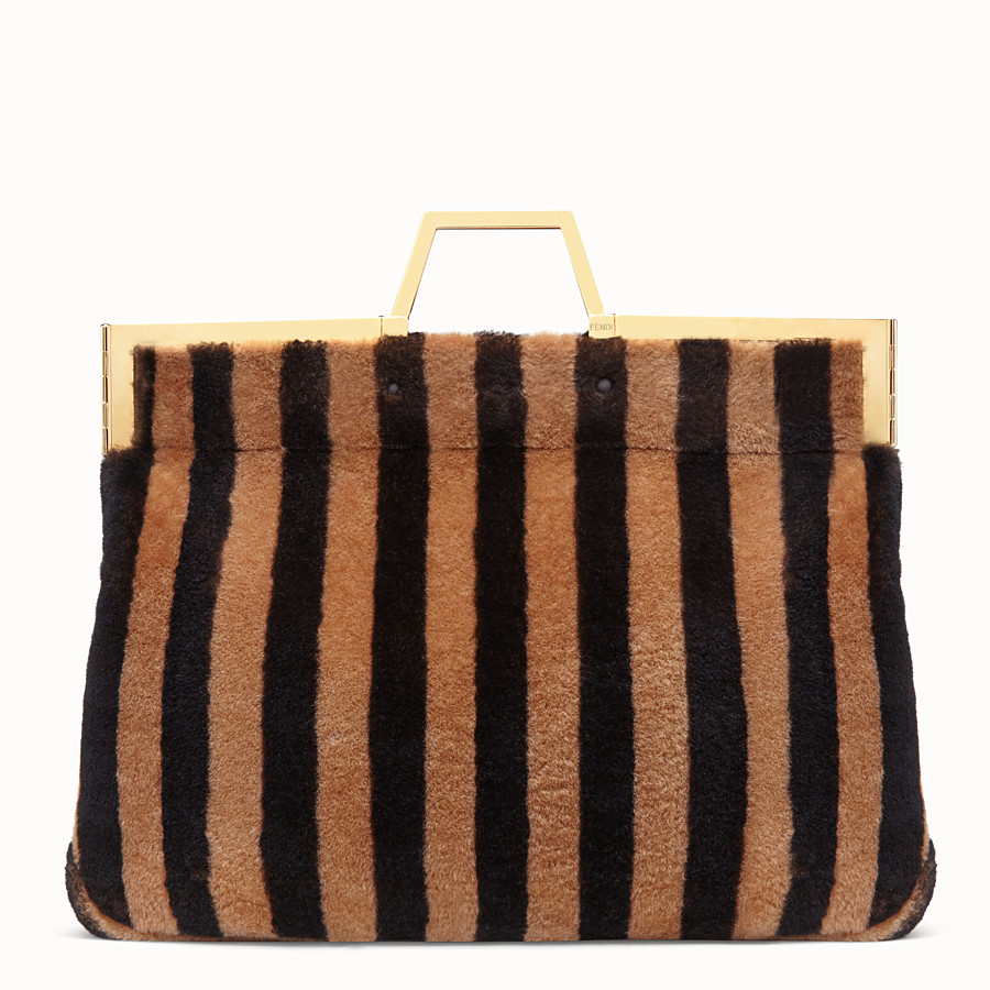 FENDI LARGE FLAT SHOPPING BAG - Multicolour, sheepskin shopper bag - view 1 detail