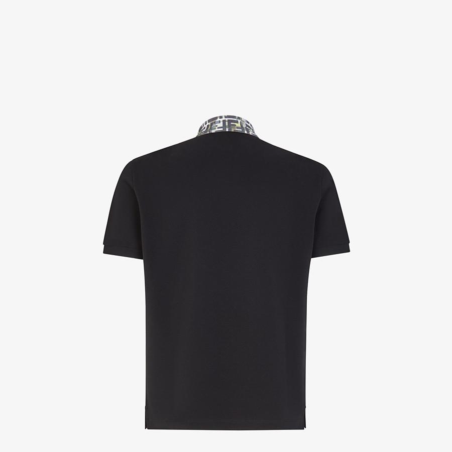 FENDI T-SHIRT - Black cotton polo shirt - view 2 detail