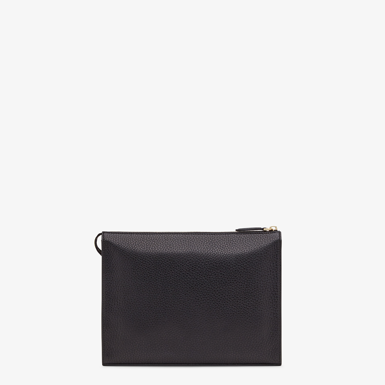 FENDI CLUTCH - Black Romano leather pochette - view 3 detail