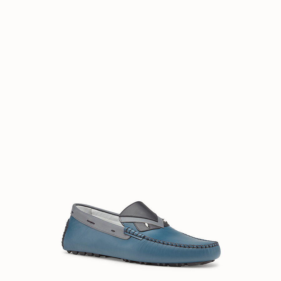 FENDI LOAFERS - Blue and grey leather drivers - view 2 detail