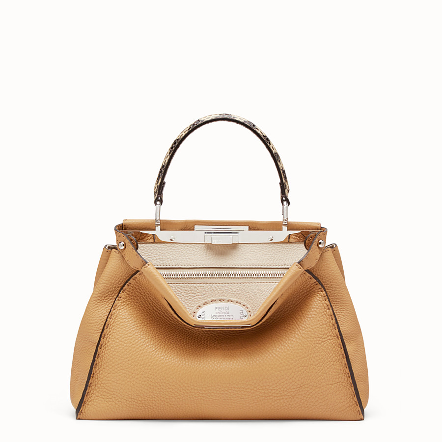 FENDI PEEKABOO REGULAR - Brown leather bag with exotic details - view 1 detail