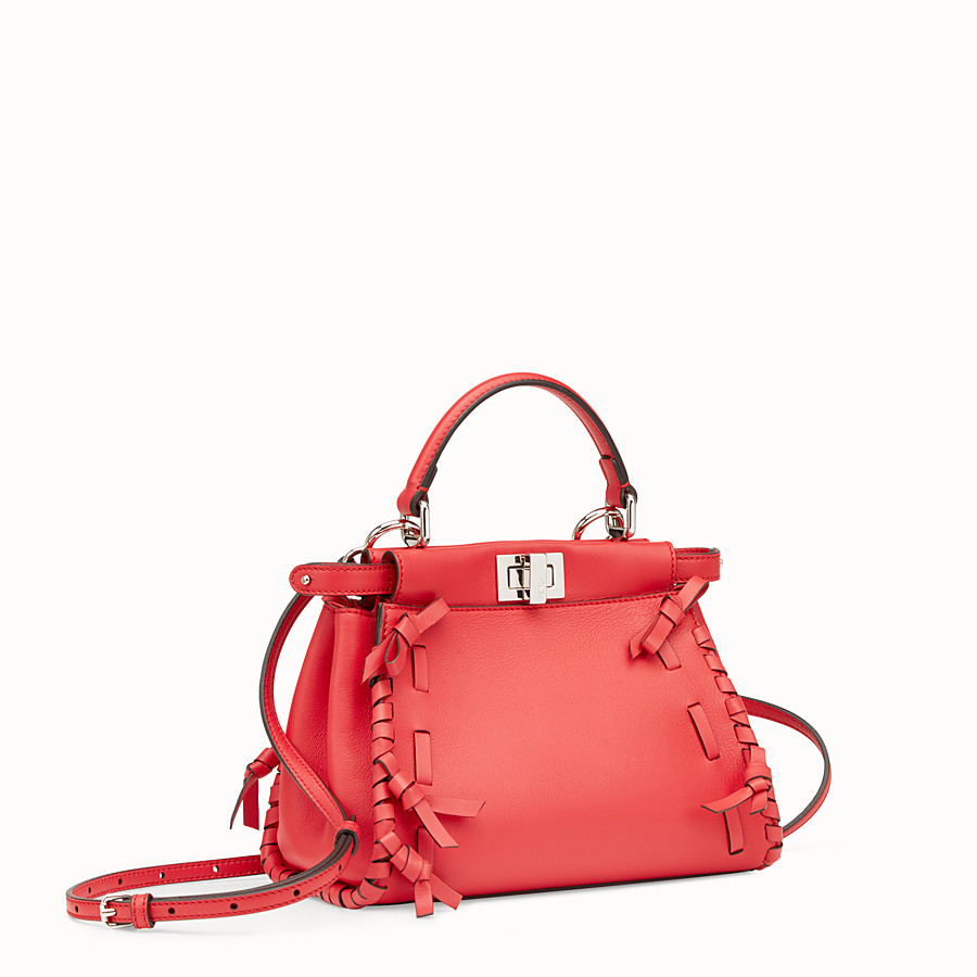FENDI PEEKABOO MINI - Red leather bag - view 2 detail