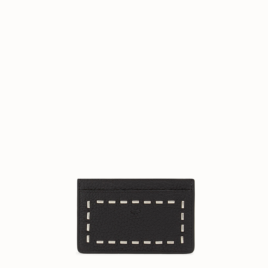 FENDI CARD HOLDER - with 4 slots in black Roman leather and metal - view 1 detail