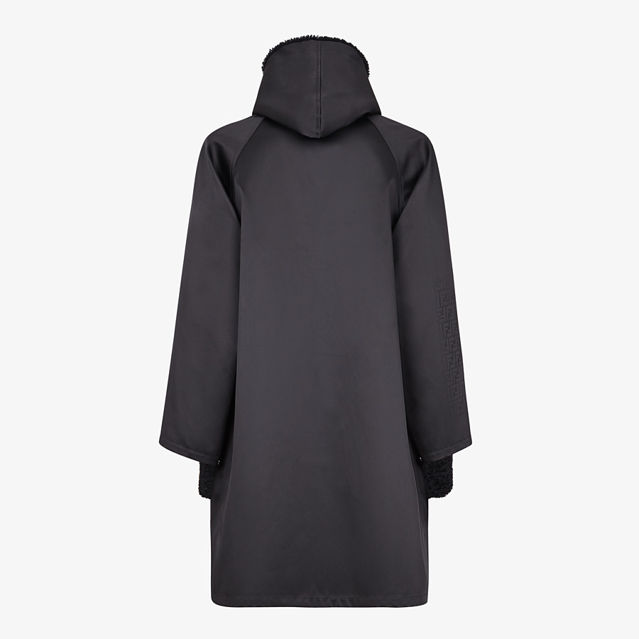 FENDI PARKA - Black nylon overcoat - view 2 detail