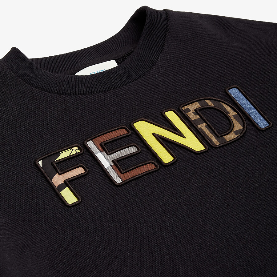 FENDI JUNIOR SWEATSHIRT - Black cotton junior sweatshirt with multicolor Fendi embroidery - view 3 detail