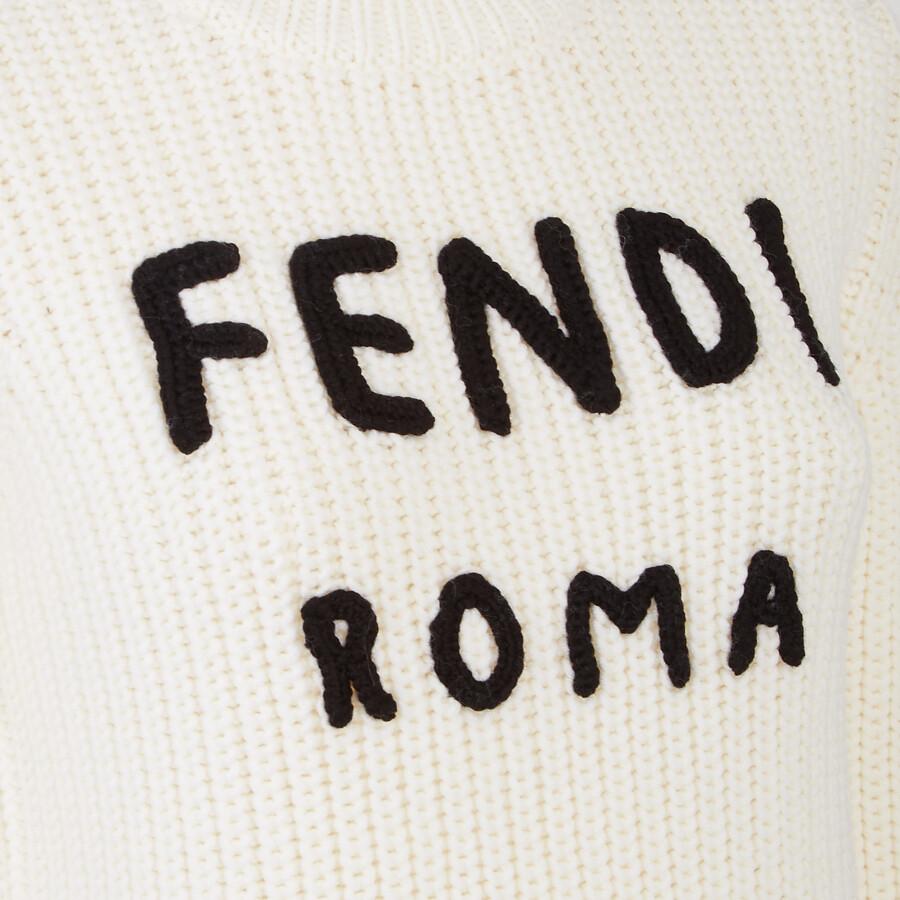 FENDI PULLOVER - White wool jumper - view 3 detail