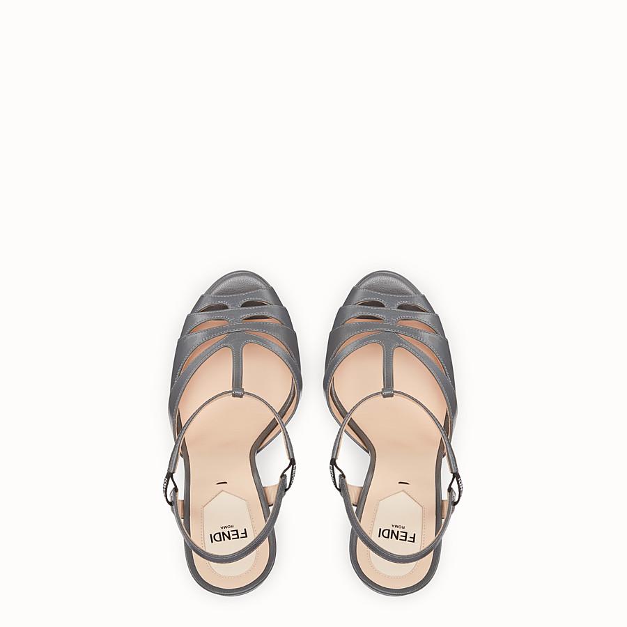FENDI SANDALS - Grey leather sandals - view 4 detail