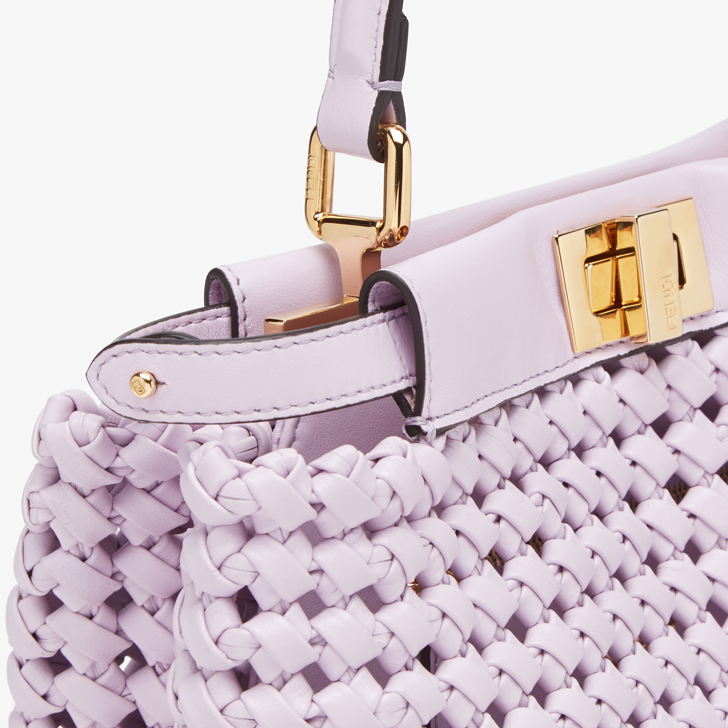 FENDI PEEKABOO ICONIC MINI - Lilac leather interlace bag - view 6 detail