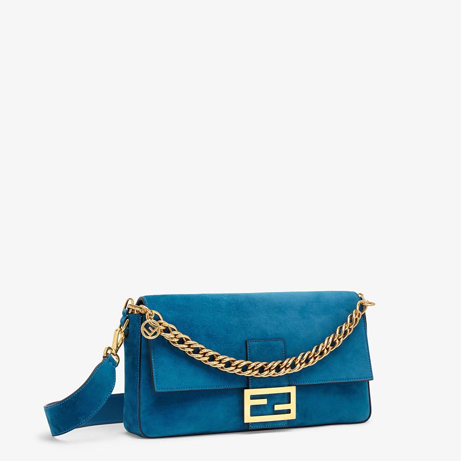 FENDI BAGUETTE LARGE - Light blue suede bag - view 3 detail