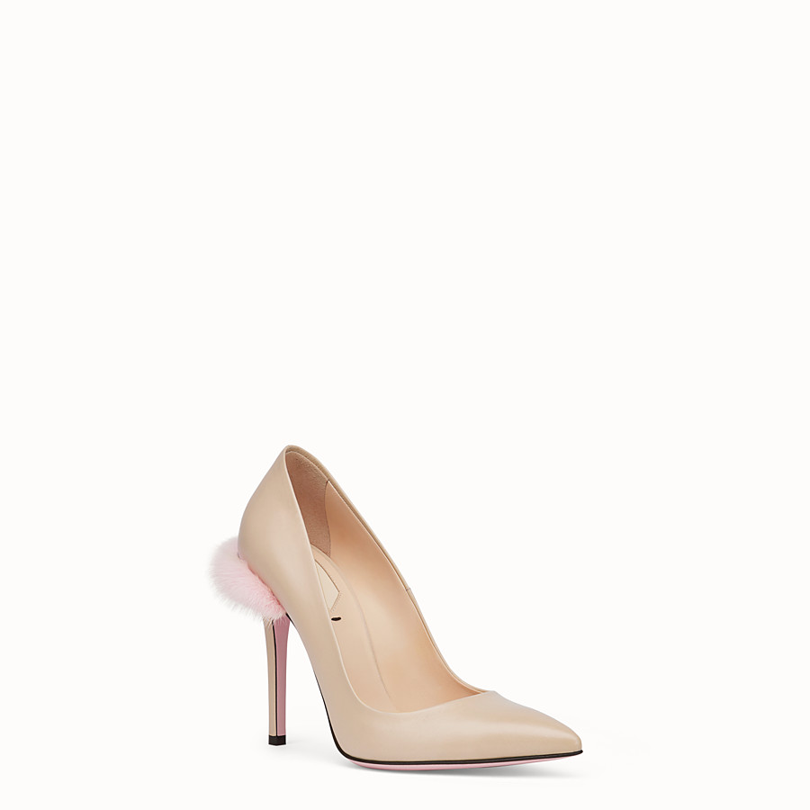FENDI PUMPS - Beige leather court shoes - view 2 detail