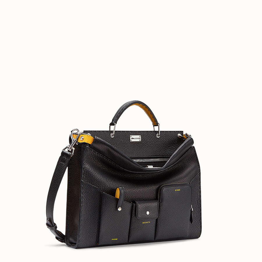 FENDI PEEKABOO ICONIC FIT - Black leather bag - view 2 detail