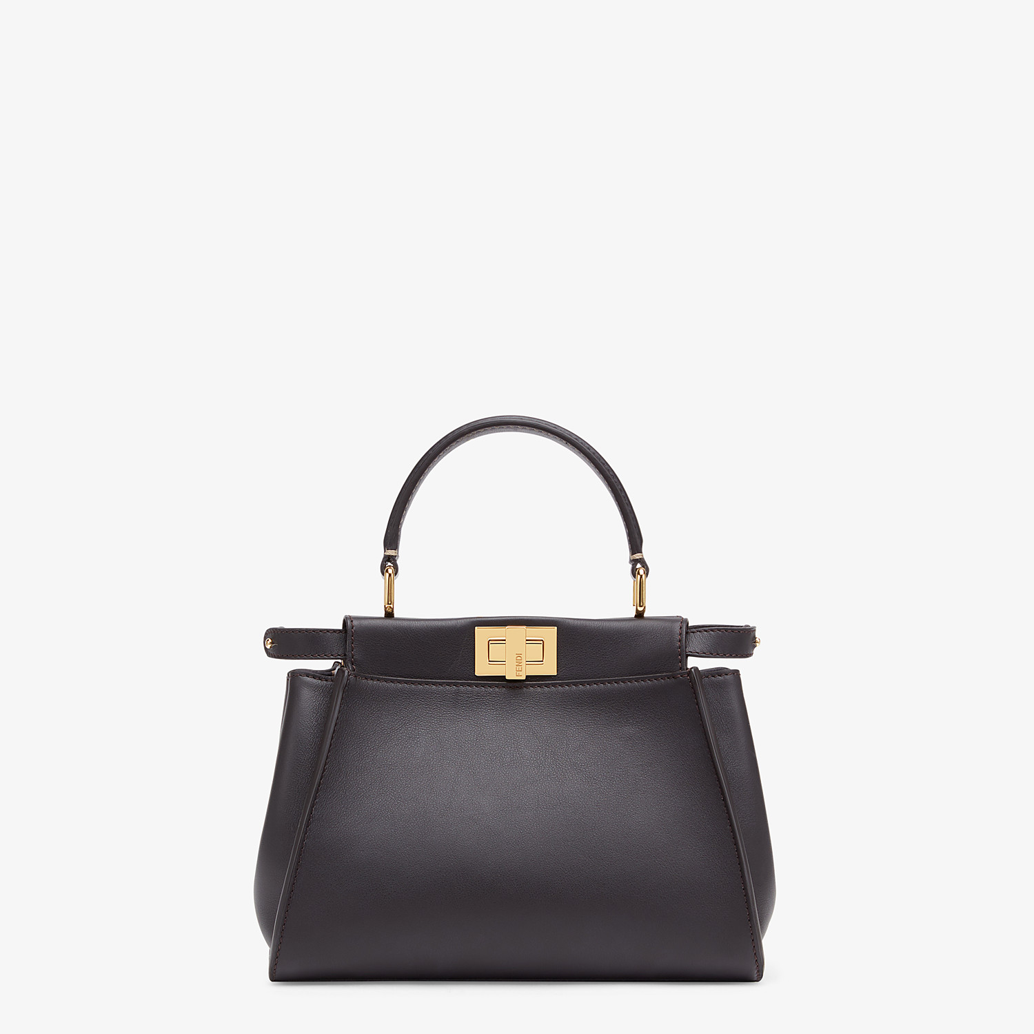 FENDI PEEKABOO ICONIC MINI - Brown leather bag - view 1 detail
