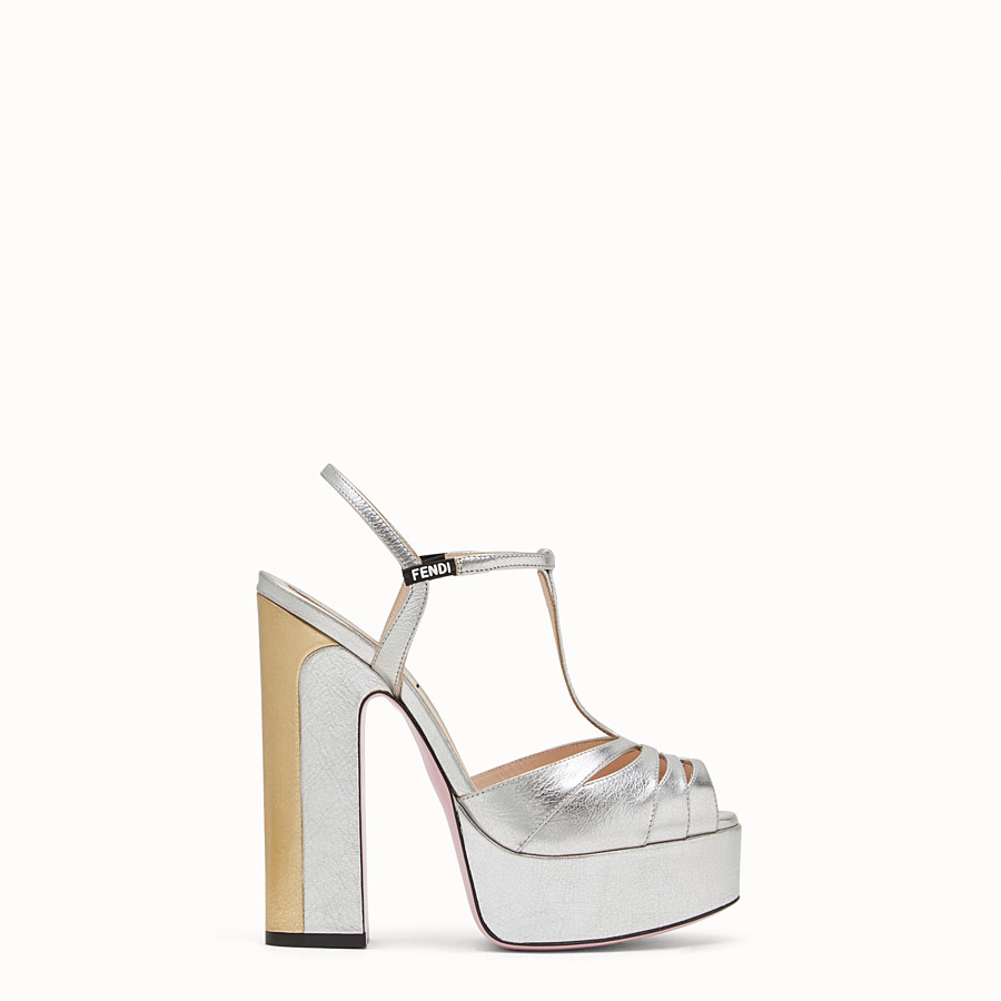 FENDI SANDALS - High-heeled sandals in silver leather - view 1 detail