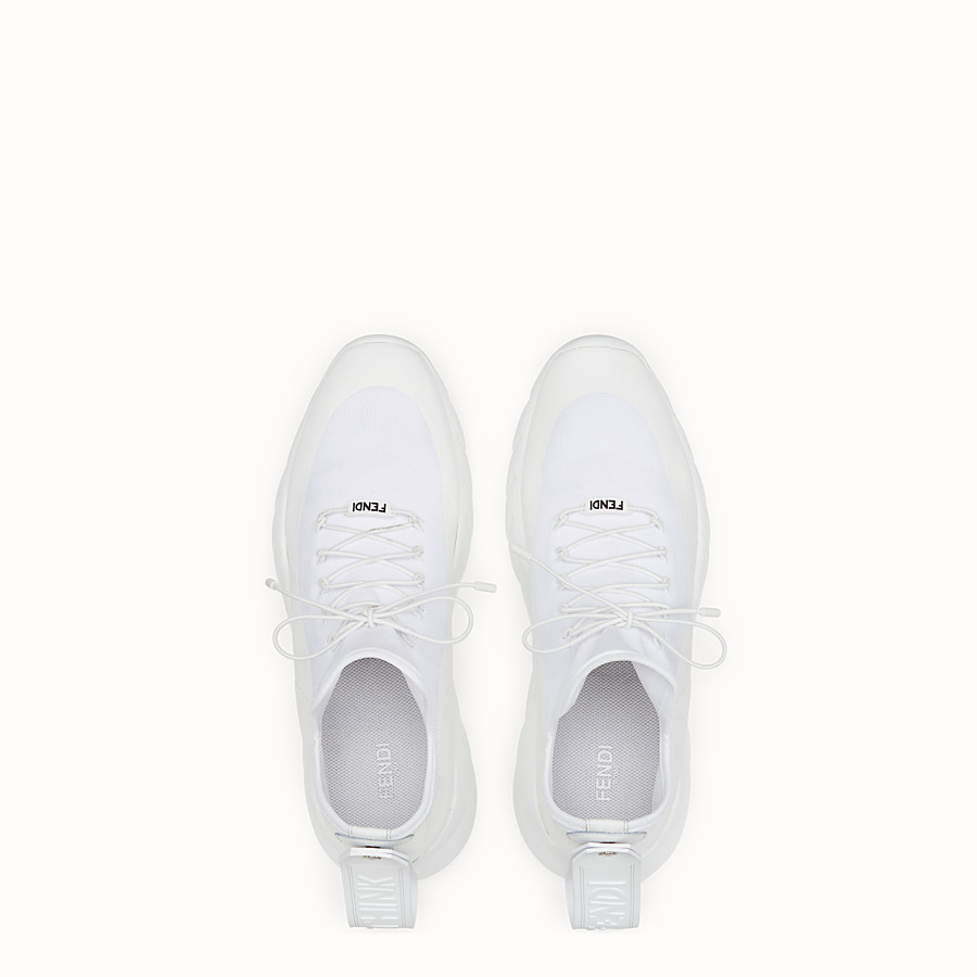 FENDI SNEAKERS - White technical knit fabric high-tops - view 4 detail