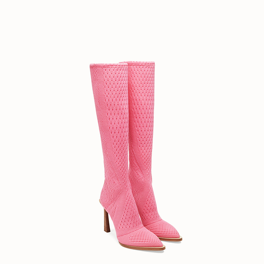 FENDI BOOTS - High-tech, pink jacquard boots - view 4 detail