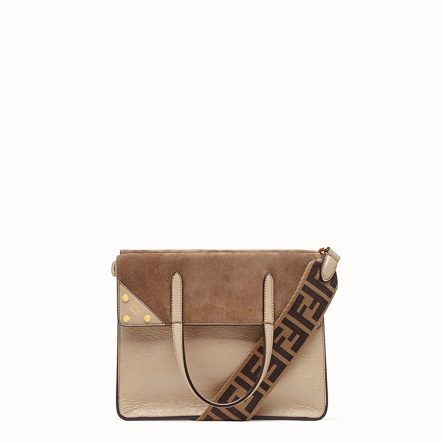 FENDI FENDI FLIP MEDIUM - Beige leather bag - view 1 detail
