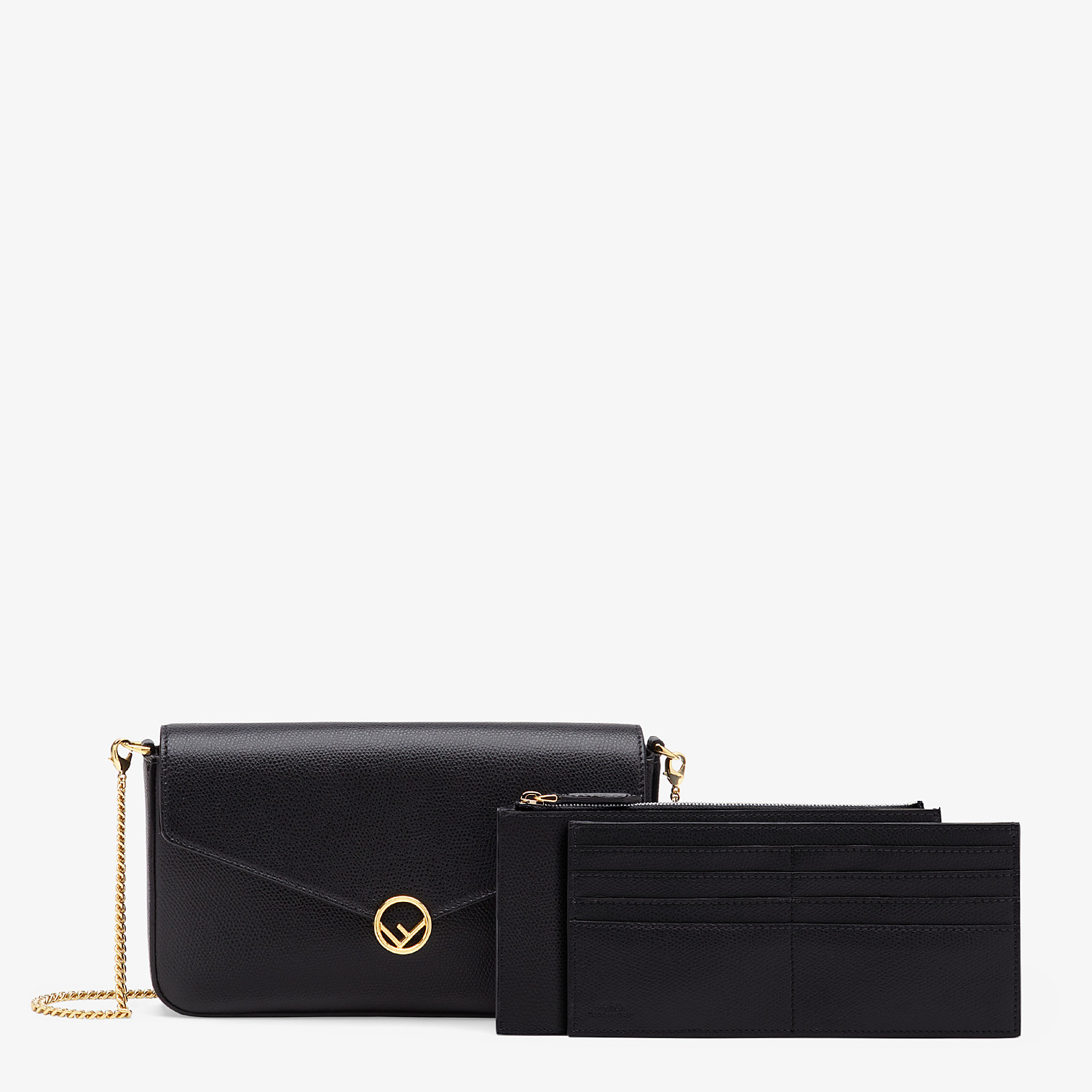 FENDI WALLET ON CHAIN WITH POUCHES - Black leather mini-bag - view 2 detail