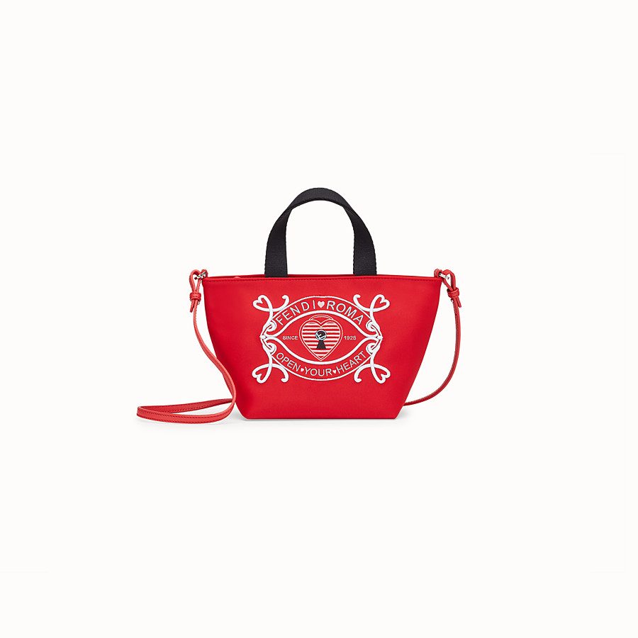 FENDI MINI BABY SHOPPING BAG - Red neoprene mini shopping bag - view 1 detail