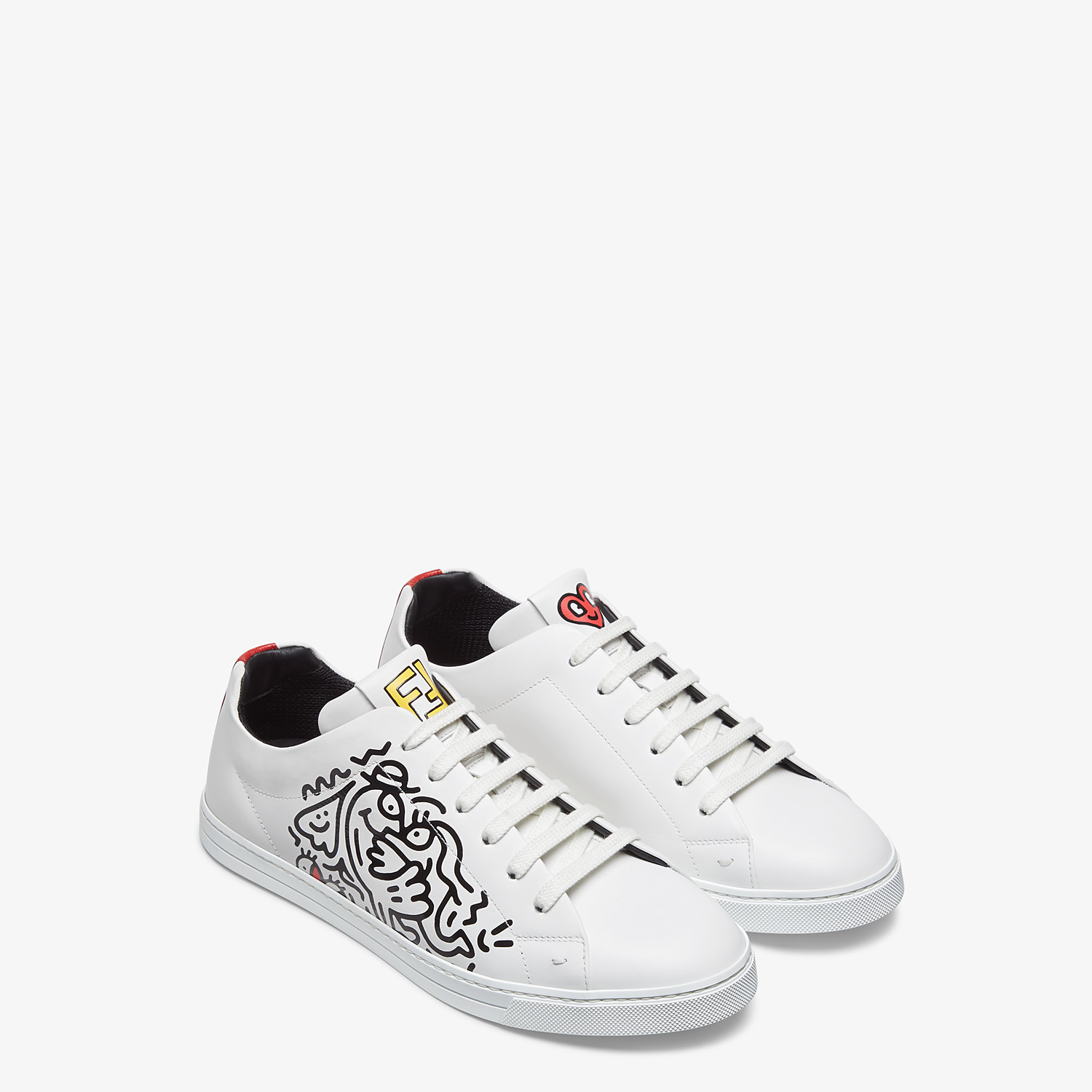 FENDI SNEAKERS - Leather low tops from the Mr. Doodle capsule - view 4 detail