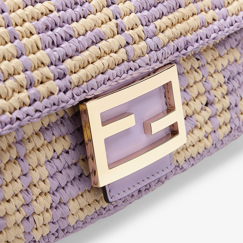 FENDI BAGUETTE - Lilac raffia FF bag - view 5 detail