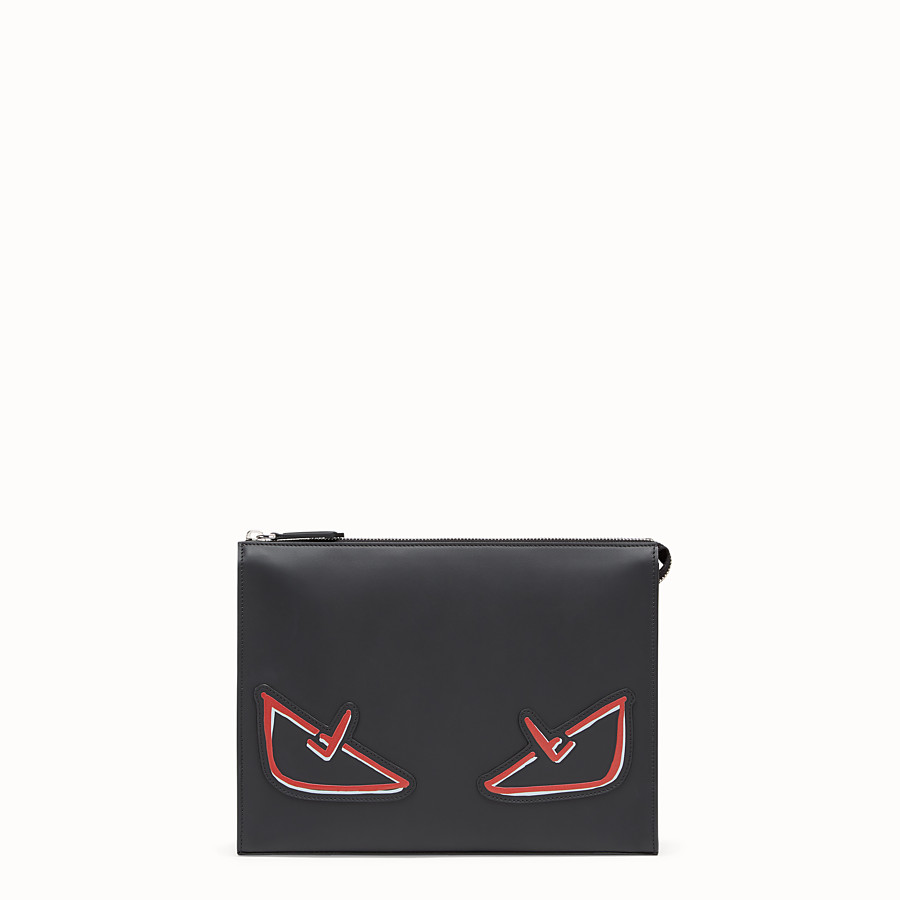 FENDI CLUTCH - Black leather pochette - view 1 detail