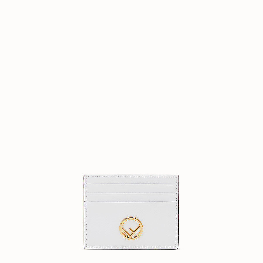 FENDI CARD HOLDER - Flat white leather card holder - view 1 detail