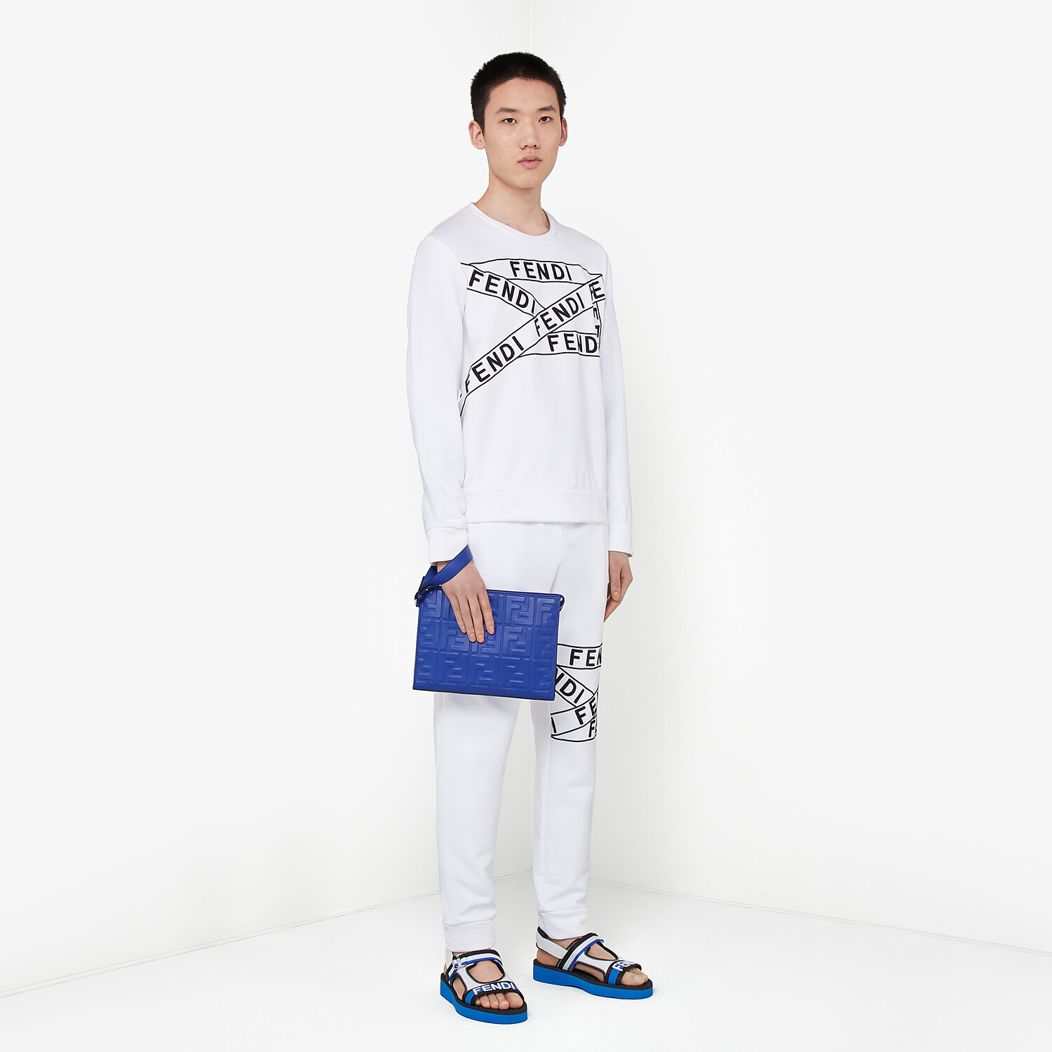 FENDI SWEATSHIRT - White cotton sweatshirt - view 4 detail