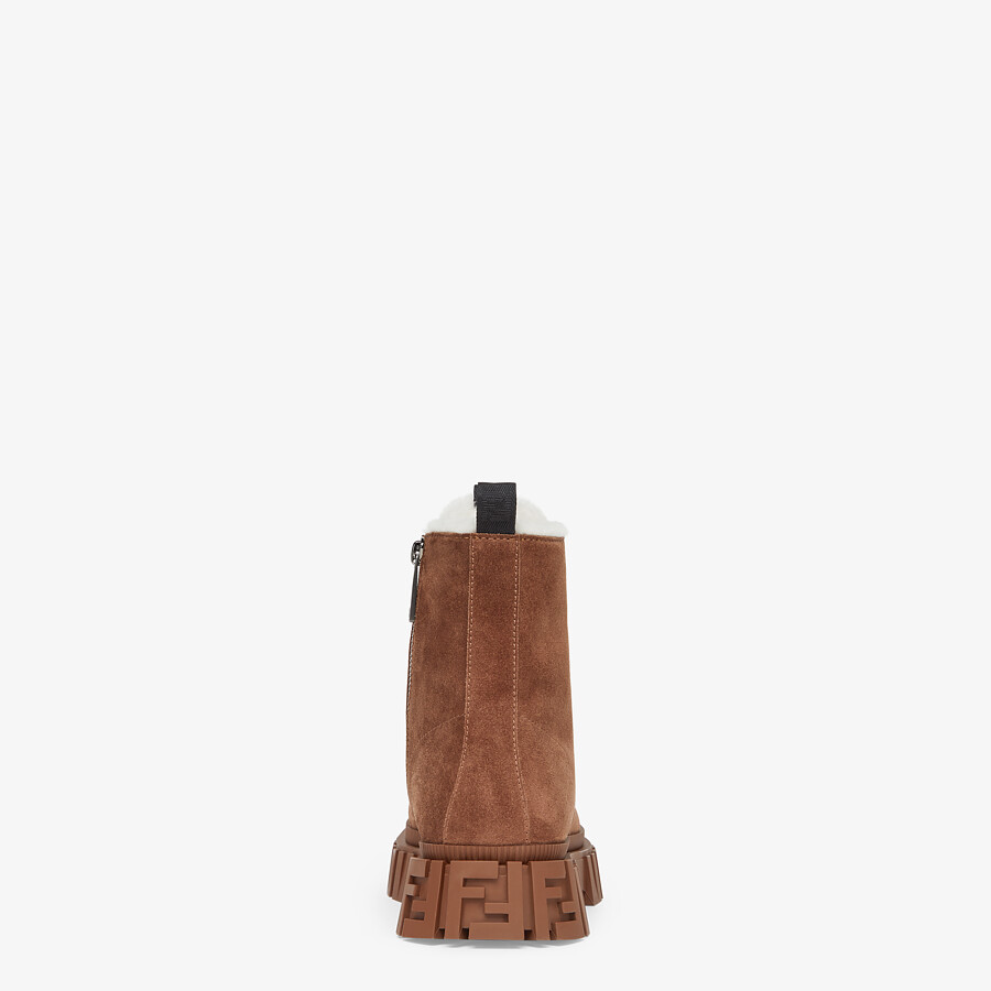 FENDI FENDI FORCE - Brown suede ankle boots - view 3 detail