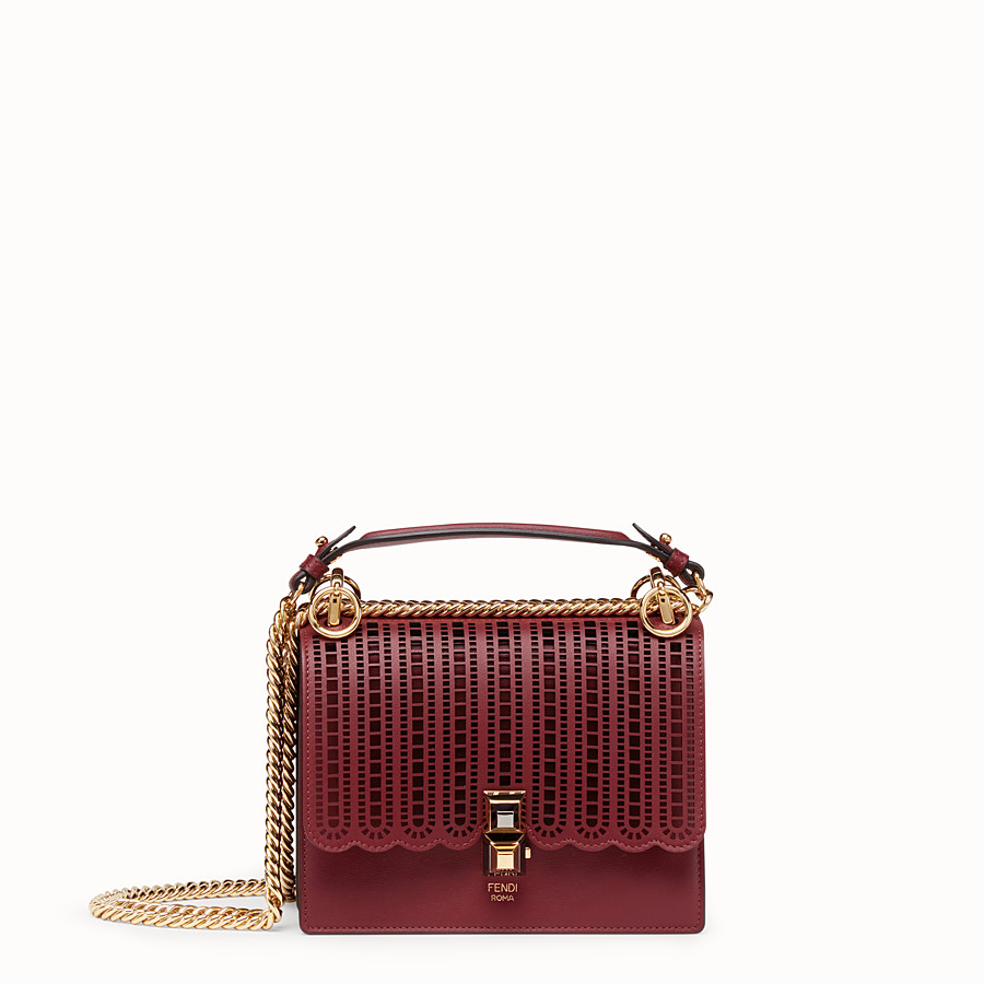 FENDI KAN I SMALL - Maroon leather mini-bag - view 1 detail