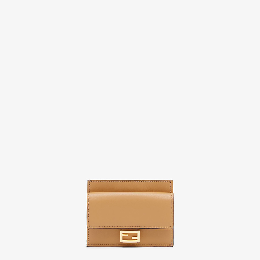 FENDI CARD HOLDER - Beige nappa leather card holder - view 1 detail