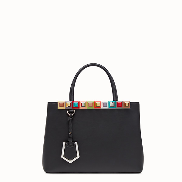 FENDI PETITE 2JOURS - black leather shopper bag with multicoloured studs - view 1 small thumbnail