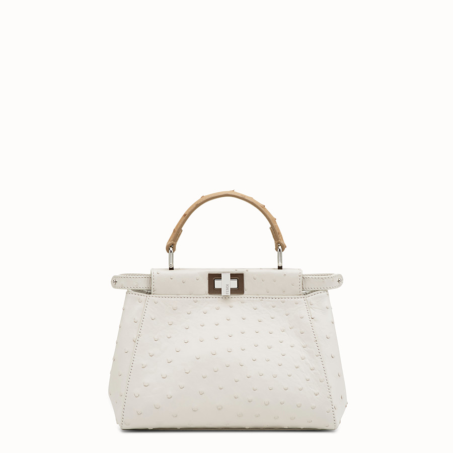 FENDI PEEKABOO ICONIC MINI - White ostrich bag - view 1 detail